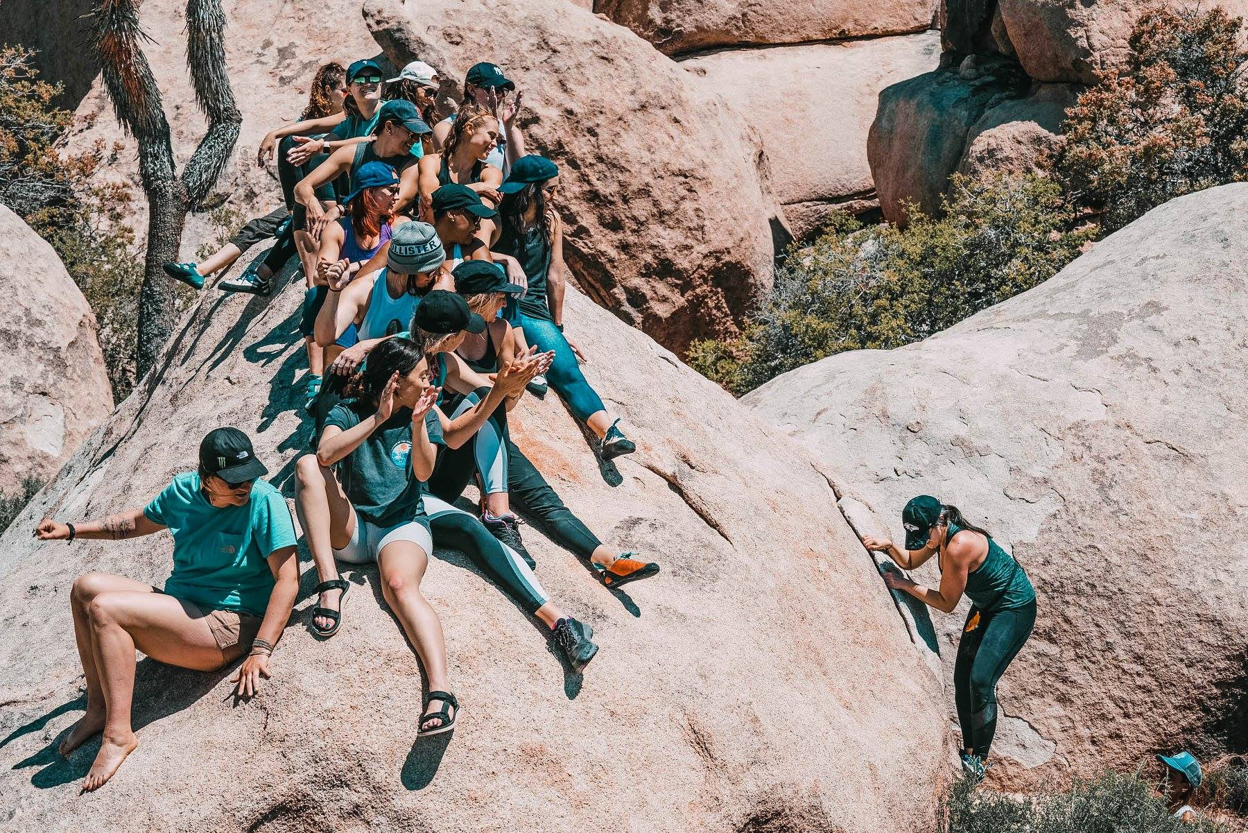 Rock climbing in Joshua Tree with powerful women