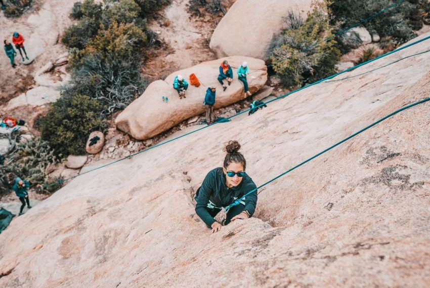 Outdoor rock climbing for the first time in Joshua Tree was the trust...