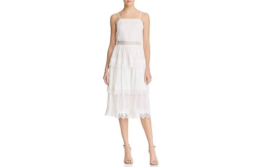 AQUA Lace-Trim Tiered Midi Dress, $168