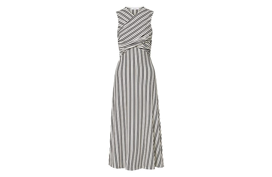 Beaufille Damia Striped Ribbed-Knit Midi Dress, $221