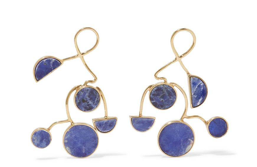 Paola Vilas Ray Gold-Plated Sodalite Earrings, $885