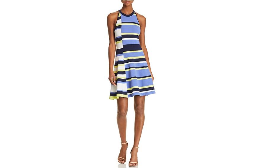 Parker Shea Fit-and-Flare Striped Knit Dress, $348