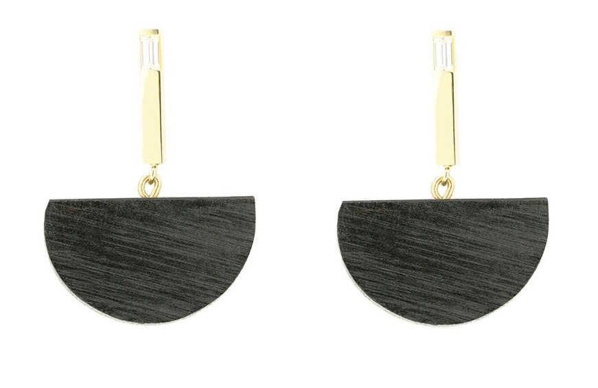 Sophie Monet x Vrai & Oro Half Moon Bar Earrings, $450