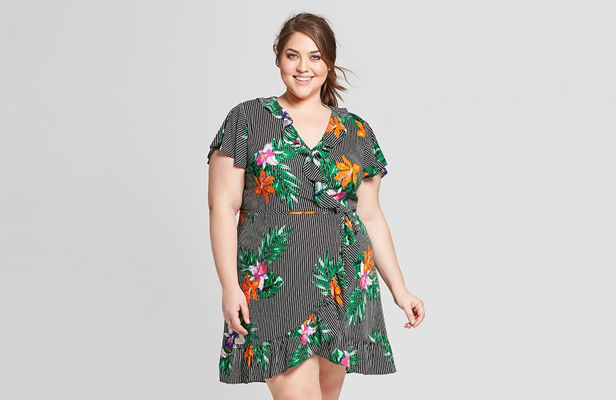 Who What Wear Plus Size Short Sleeve Mini Wrap Dress, $35