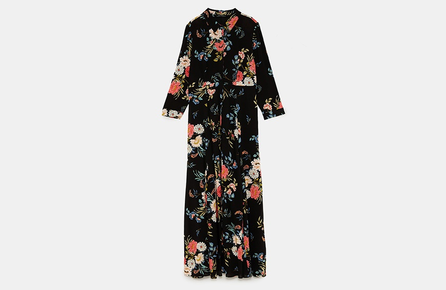 Zara Long Floral Print Dress, $70