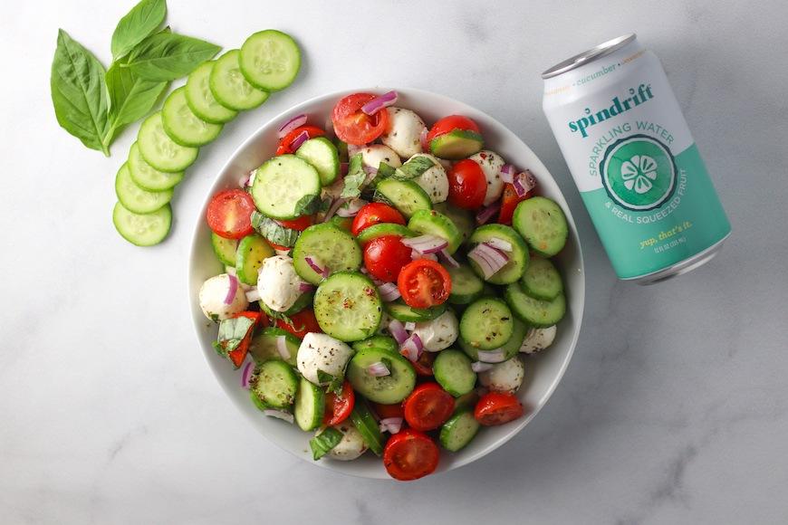 Spindrift cucumber caprese salad