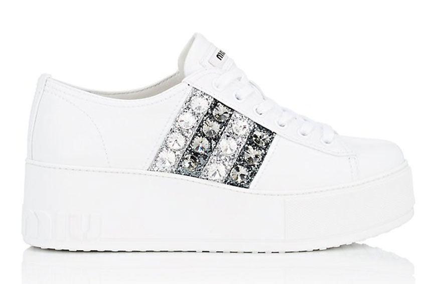 MIU MIU Crystal-Striped Leather Platform Sneakers, $790
