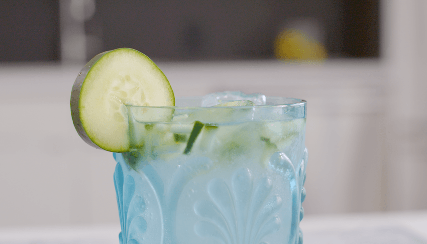 This coconut cucumber cocktail is the spiked version of spa water