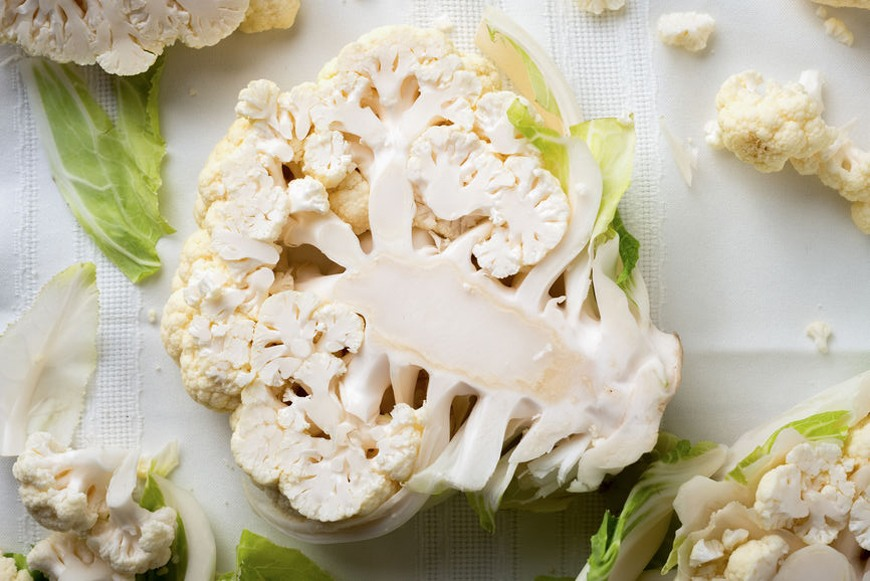 A mess-free way to cut cauliflower in to florets from Ina Garten that's genius and easy