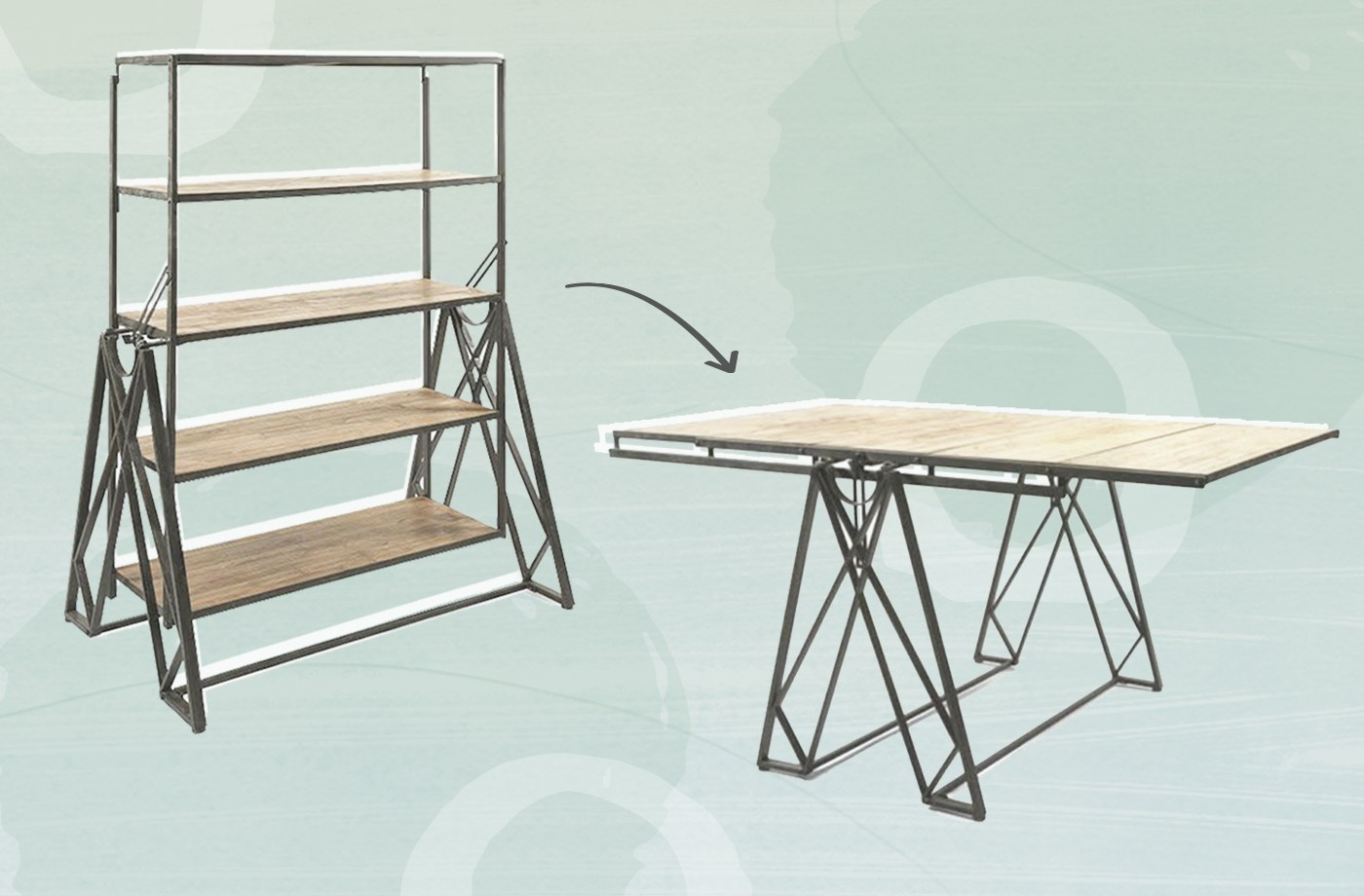 Thumbnail For This Bookcase That Converts To A Dining Table Is The Most Genius Thing