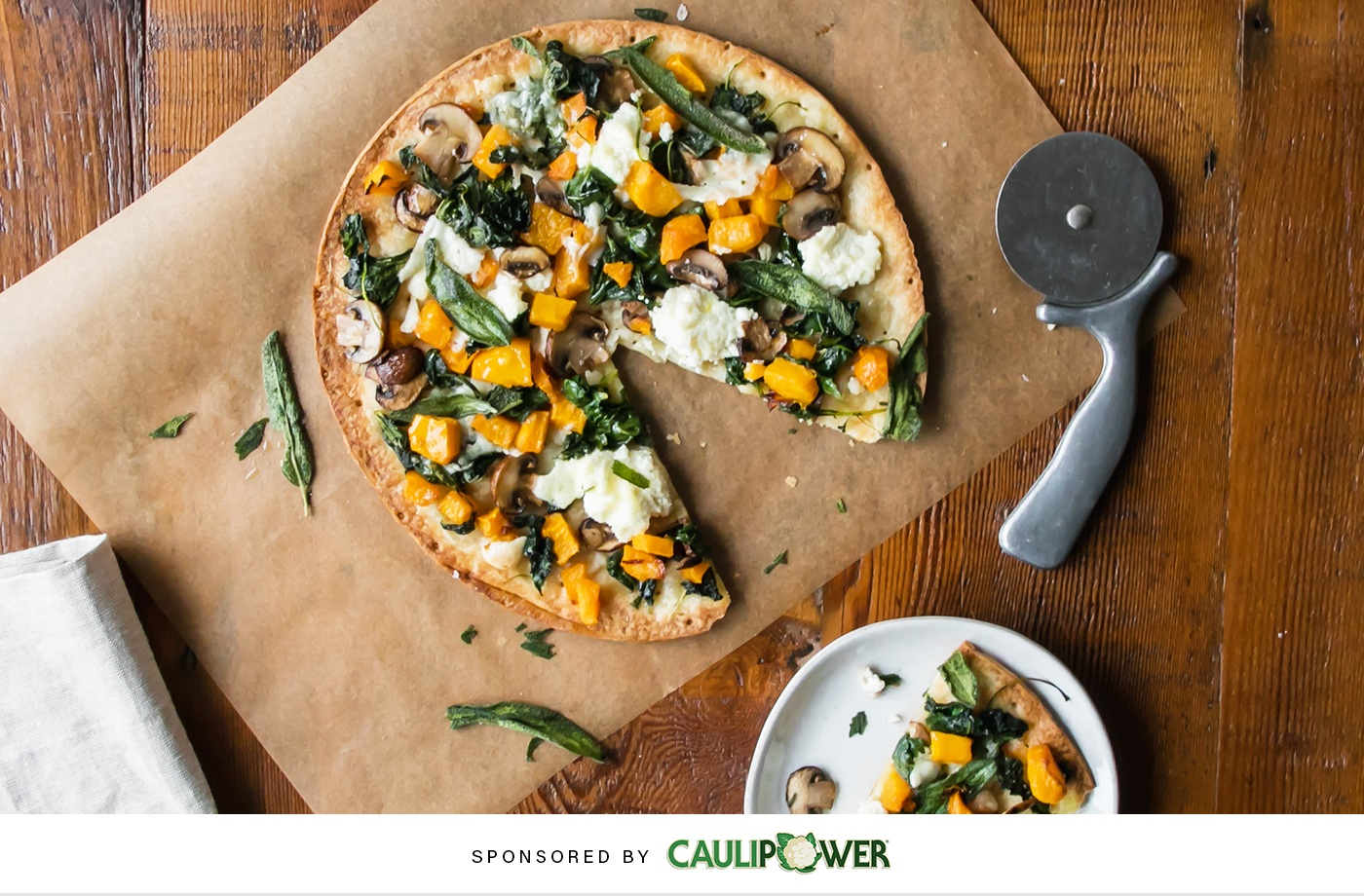 Give your holiday appetizer spread a healthy upgrade with this cauliflower harvest pizza recipe