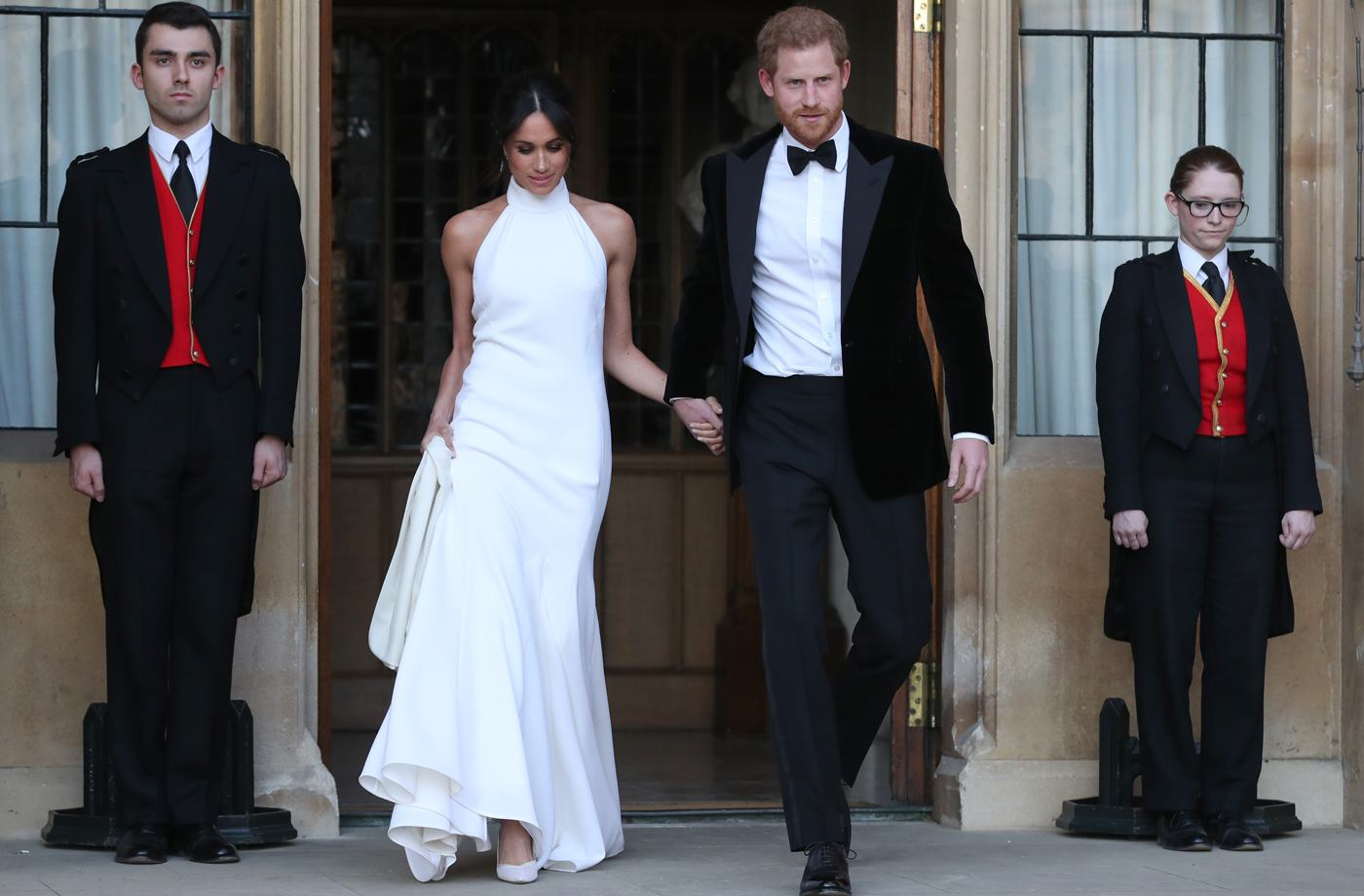 Thumbnail for This $45 white dress is a dead ringer for Meghan Markle's reception gown