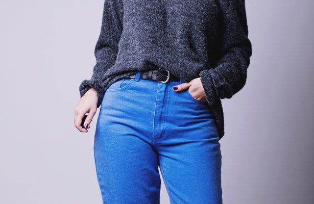 How to style high-waisted jeans so you don't wind up with a front butt