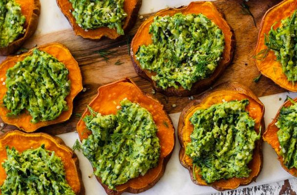 Sweet potato pesto poppers are the ultimate healthy game-day app