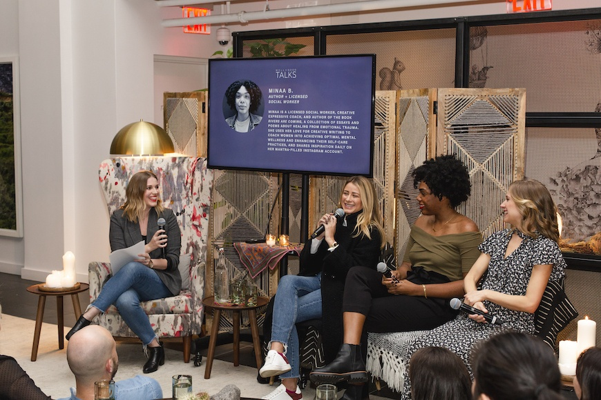 well and good generation anxiety talk panel with abbey stone, lo bosworth, minaa b, and ellen vora md