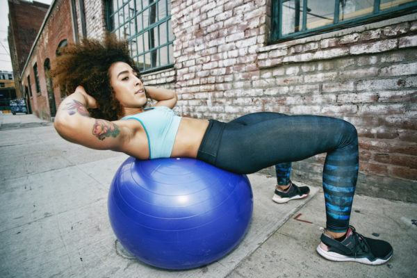 Thumbnail for The guaranteed way to make an exercise more challenging? Do it on a stability ball