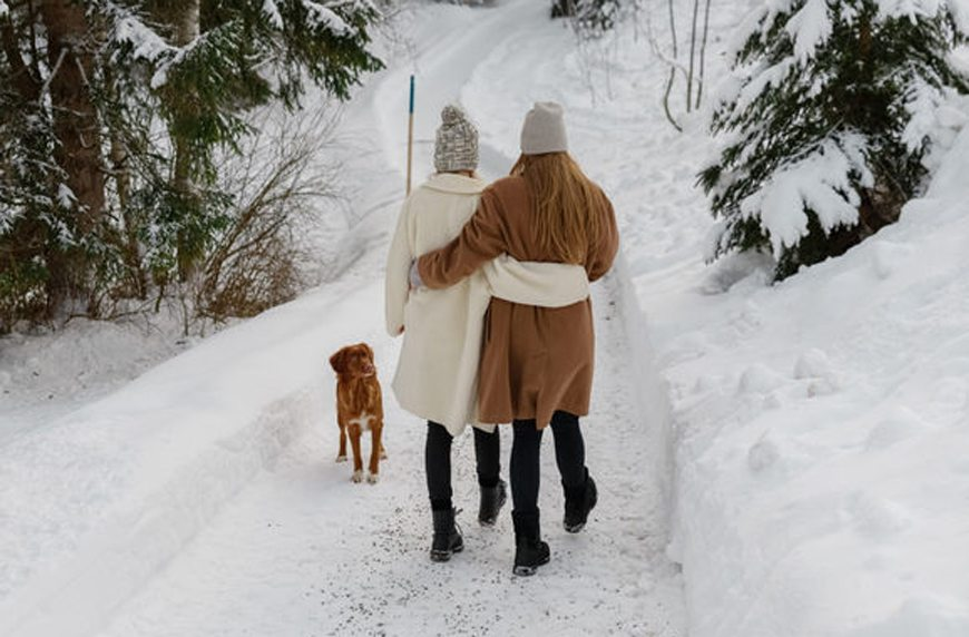 friends walking in the snow family member depression holidays