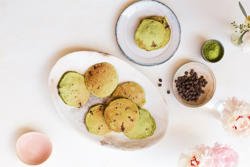 Thumbnail for How to keep a lovefest going all day long: Candice Kumai's matcha pancakes