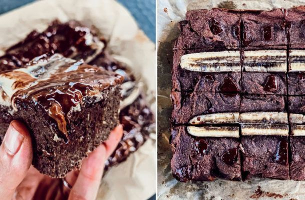 These healthy chunky monkey banana bread brownies aren't messing around