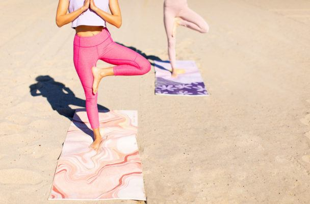 Raise your vibe with this rose quartz-inspired yoga mat
