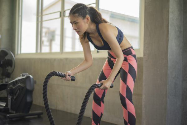 Battle rope exercises are the arm equivalent of running on a treadmill