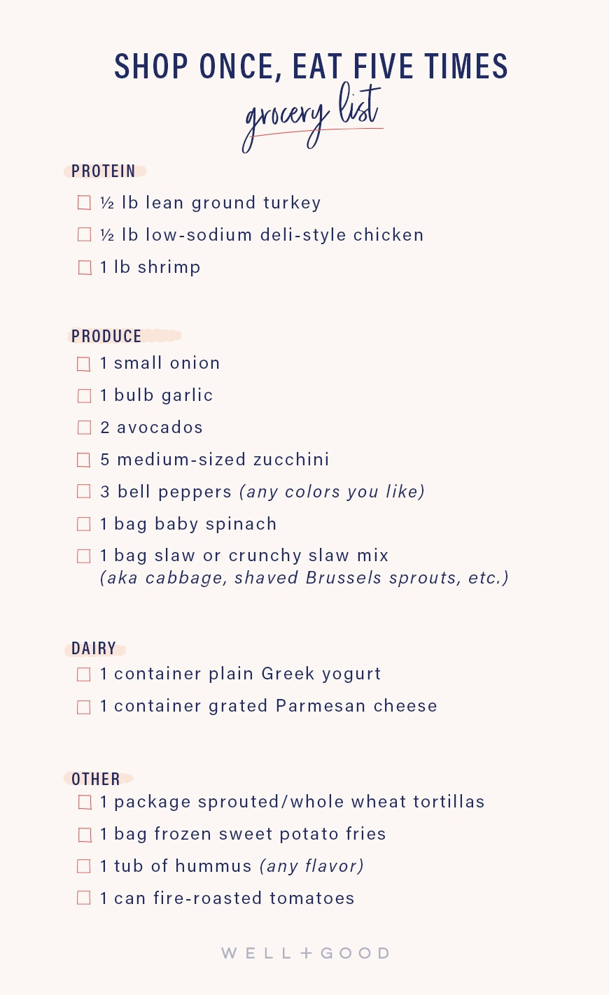 healthy dinner meal plan shopping list