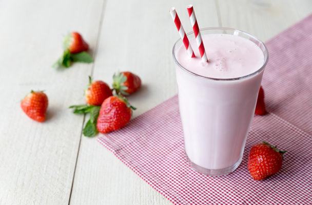 This dairy-free strawberry milkshake gets its creaminess from a secret ingredient