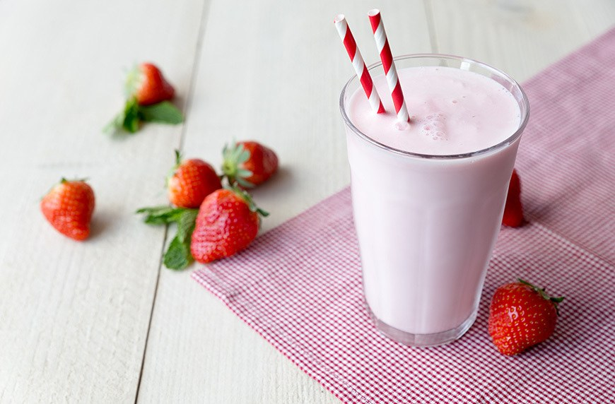 Thumbnail for This dairy-free strawberry milkshake gets its creaminess from a secret ingredient