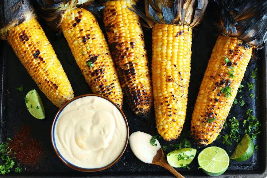 grilled corn with sriracha aioli