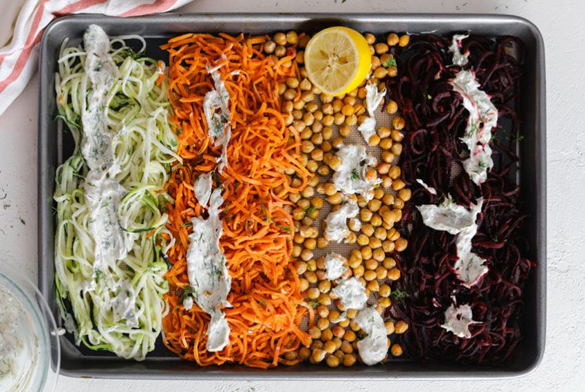 One-pan baked zoodles never looked (or tasted) better