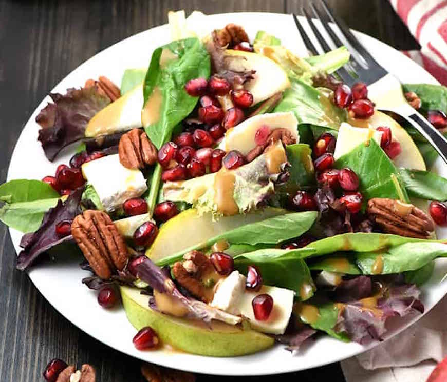pomegranate and pear thanksgiving salad
