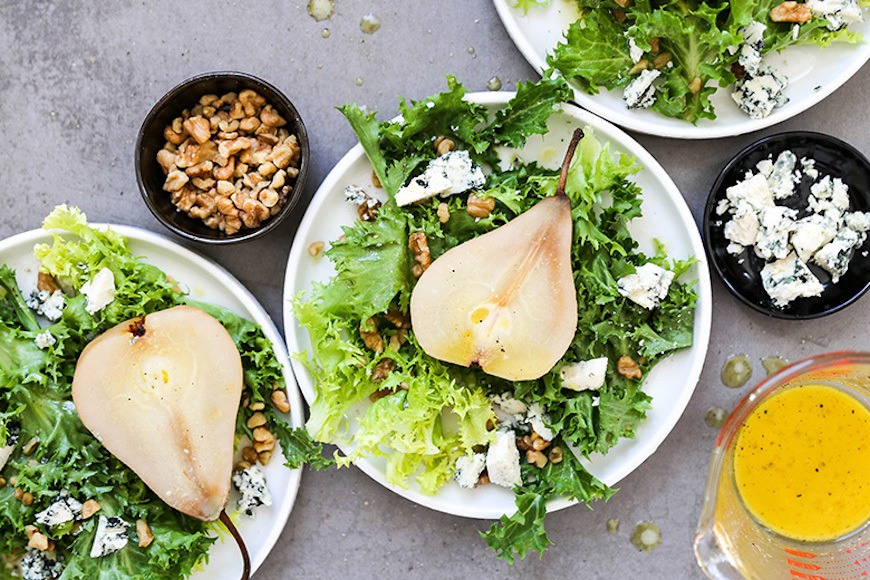 poached pears salad recipe