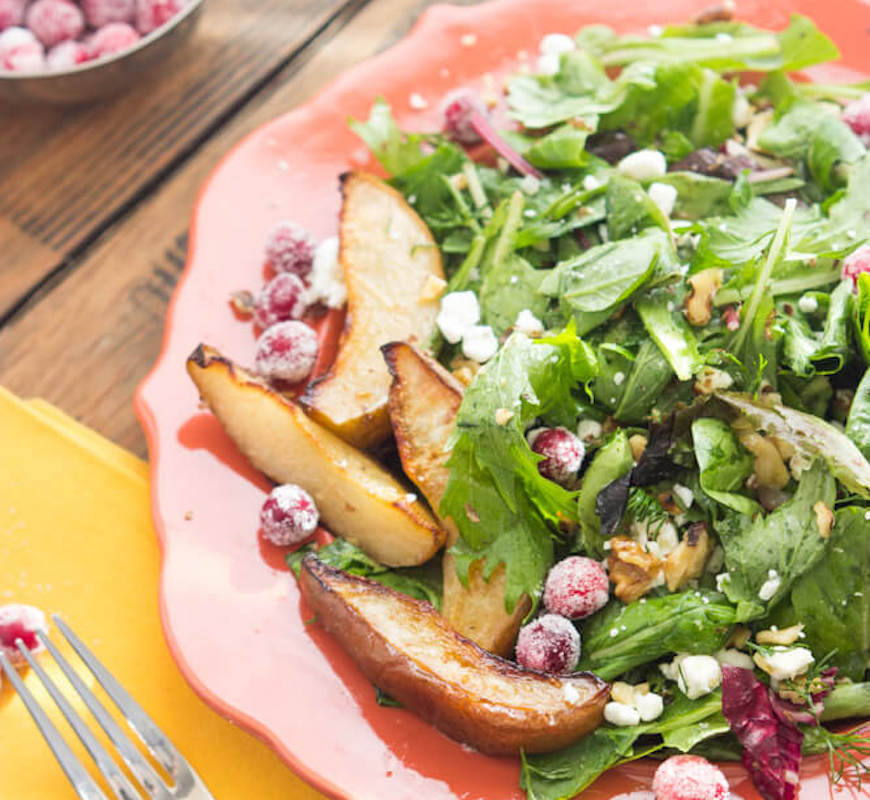 roasted pear thanksgiving salad