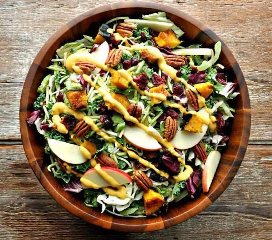 thanksgiving salad with pumpkin puree