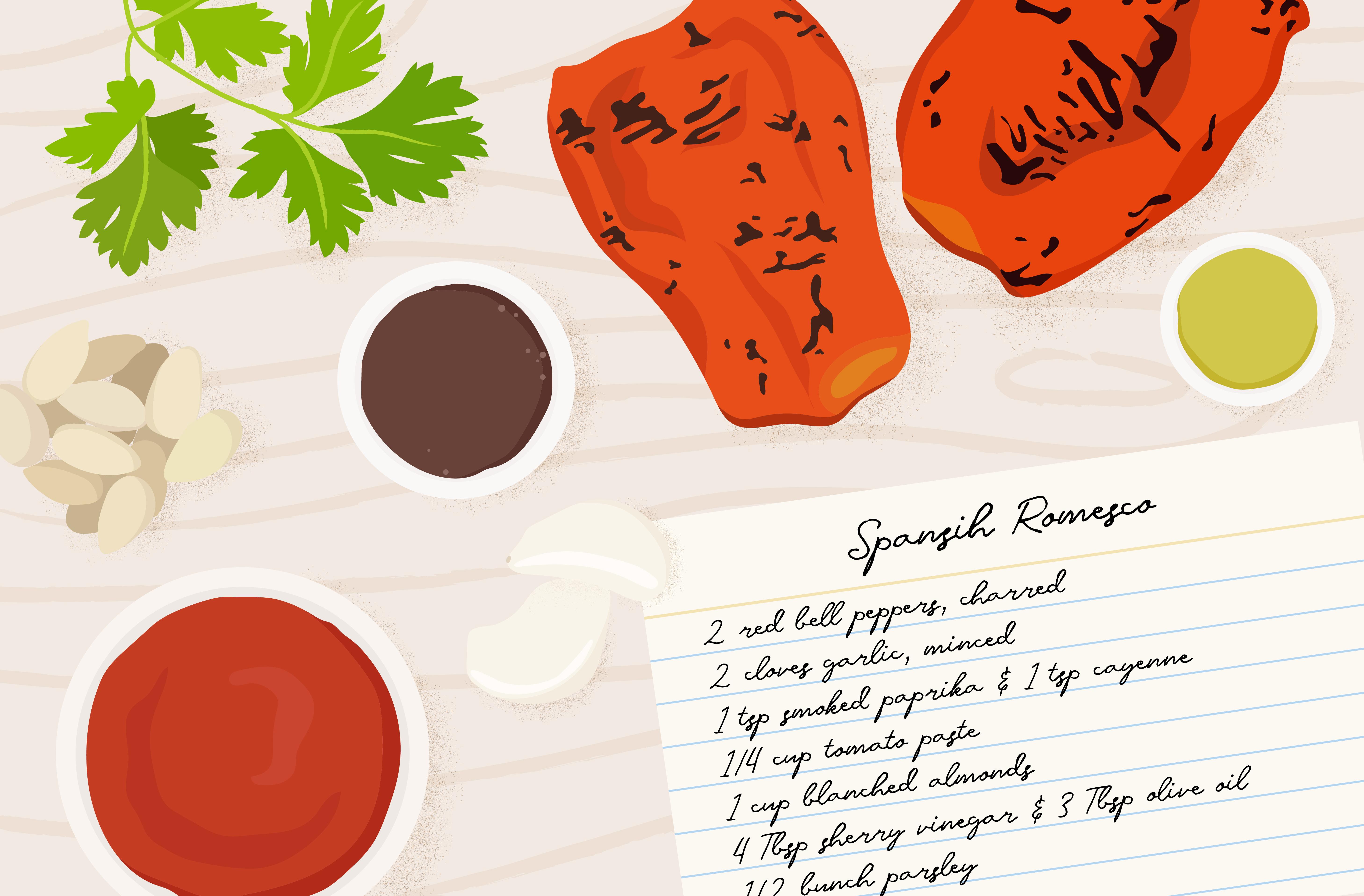 spanish romesco sauce recipe card