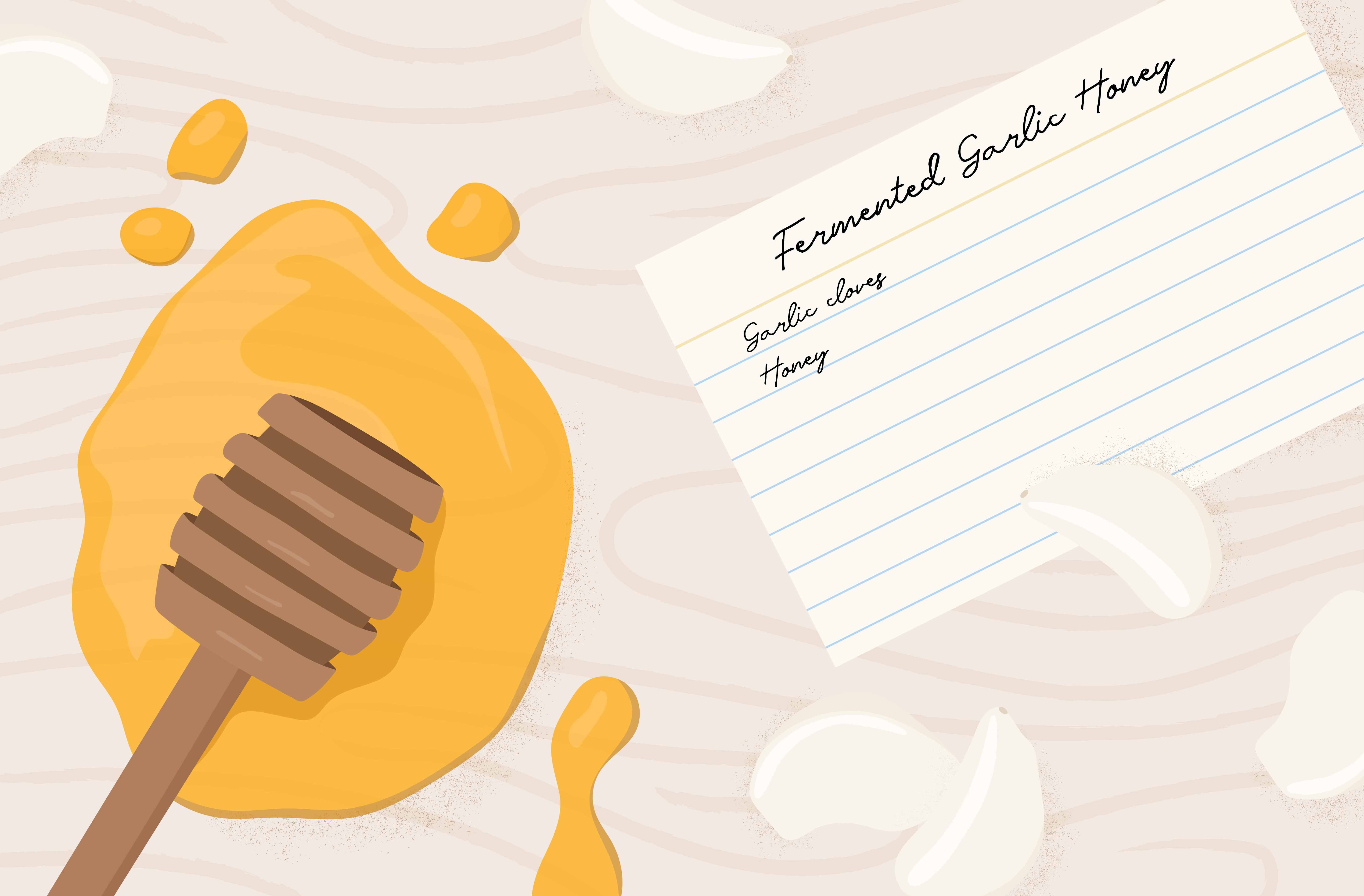 fermented garlic honey recipe card illustration
