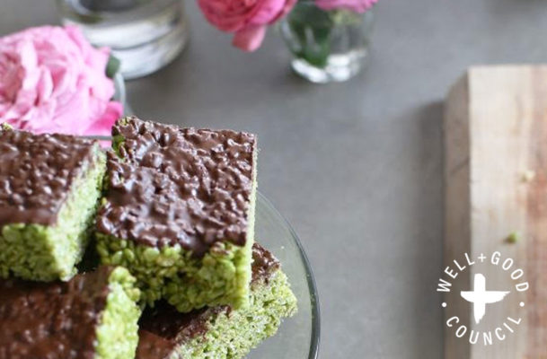 These matcha Rice Krispies Treats are perfect for Valentine's—or any day