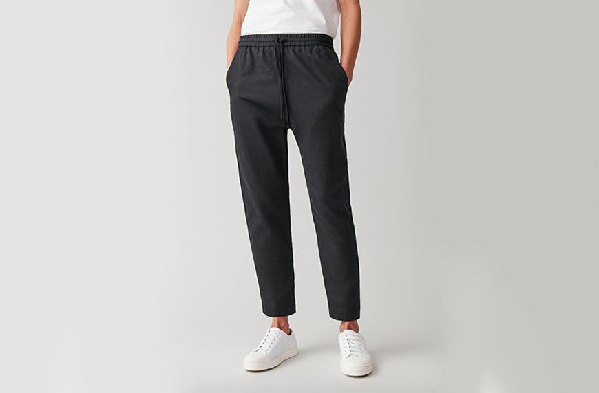 COS Relaxed Cotton Linen Trosures, best black sweatpants