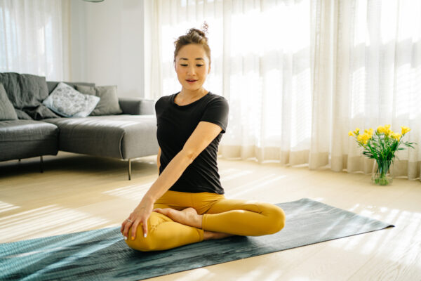 Hot tip: When doing yoga, you can use parts of your body to massage and relieve muscle soreness