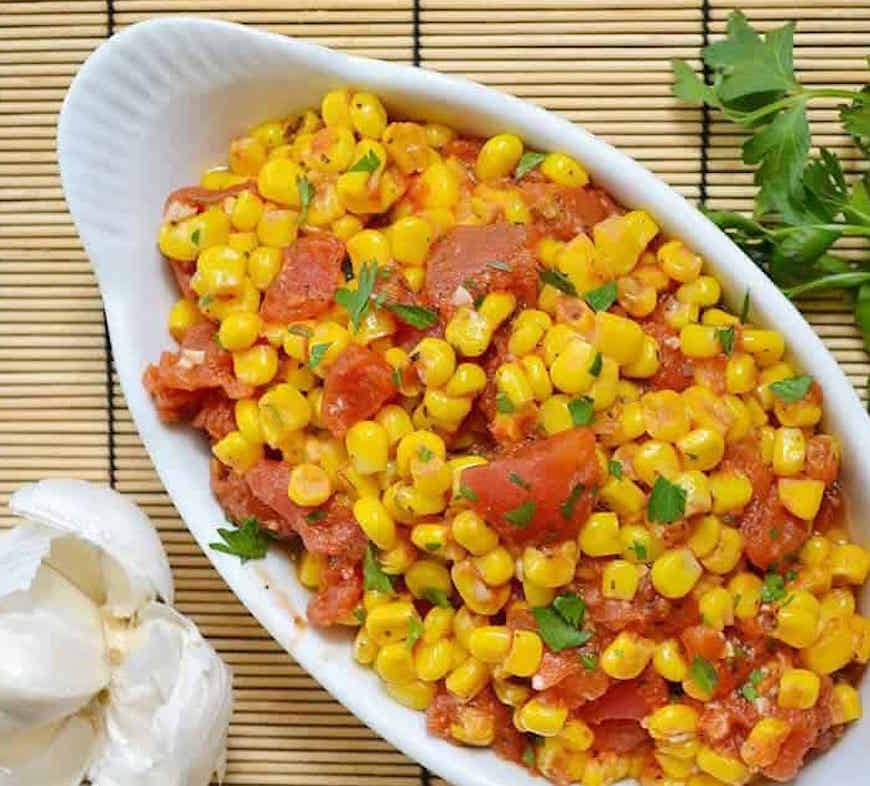canned tomatoes and corn