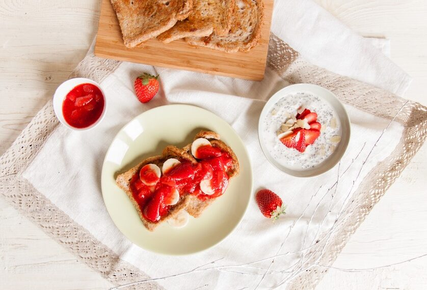 This high-protein strawberry vanilla french toast really hits the spot