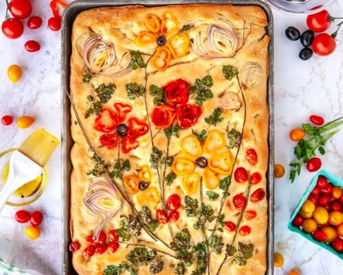 Focaccia gardens are the most delicious way to use up leftover produce