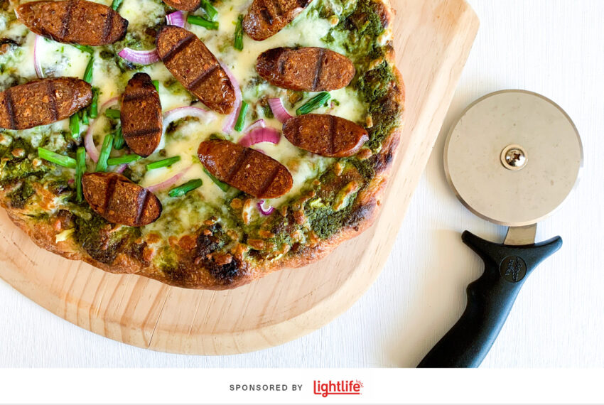 Summer Pizza Is a Thing—And This Grilled, Plant-Based Sausage and Pesto Pizza Proves It