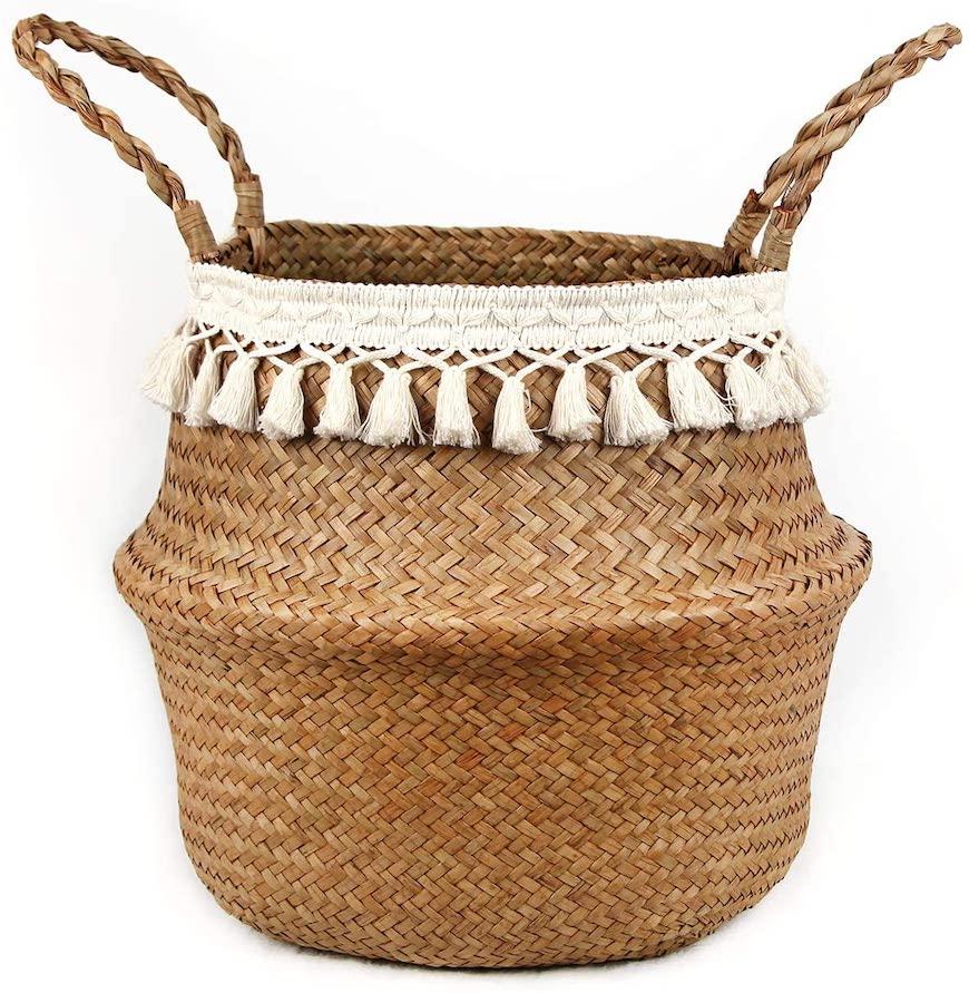 outdoor meditation space decor woven basket
