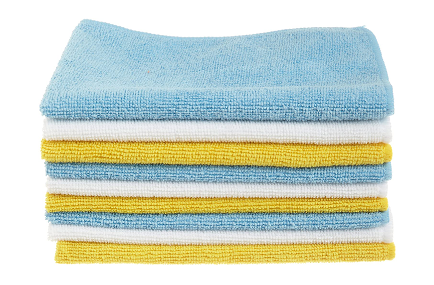 AmazonBasics Blue, White, and Yellow Microfiber Cleaning Cloths