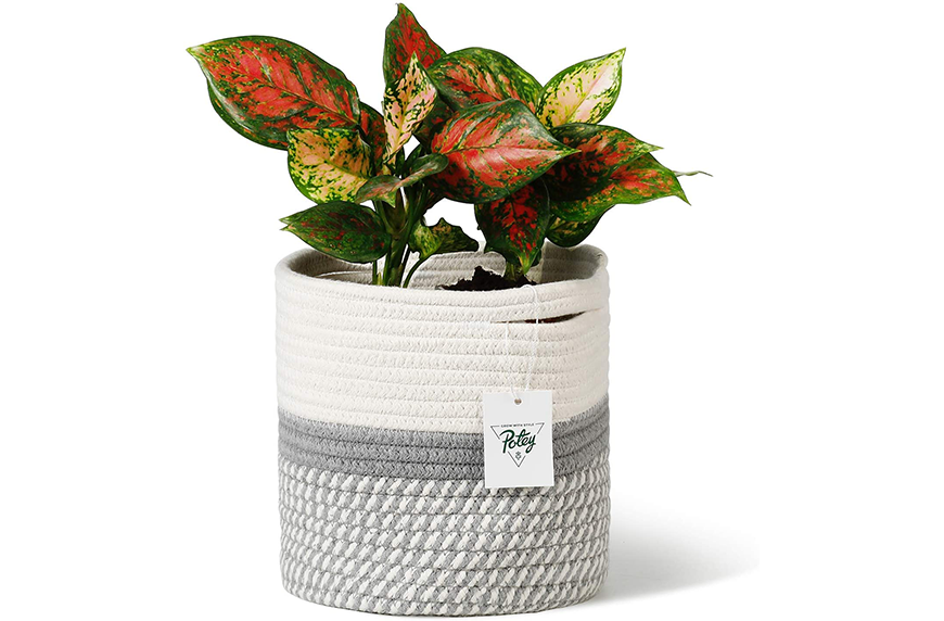 Potey Cotton Rope Woven Plant Basket Modern Woven Basket