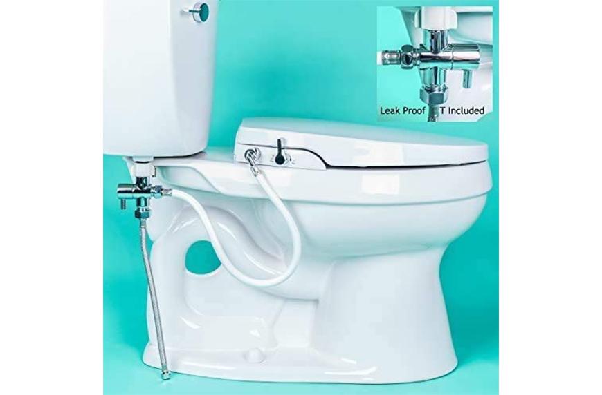 GenieBidet Seat-Self Cleaning Dual Nozzles, wet wipe alternatives