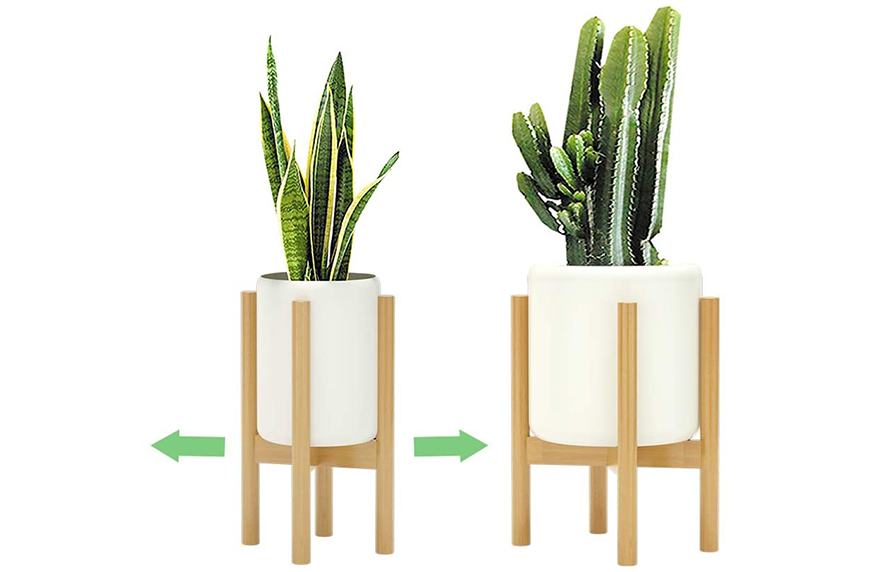 Adjustable Bamboo Mid Century Modern Plant Stand, Amazon Prime Day plant deals