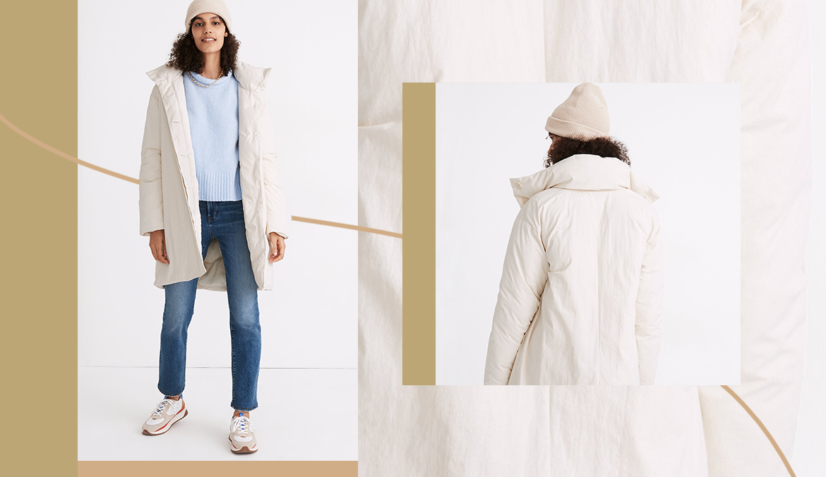 Thumbnail for Madewell and Buffy Teamed Up To Create This 'Comforter Coat' So You Are Bed, Bed Is You