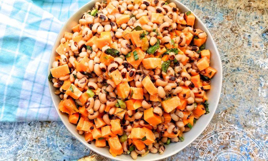 sweet potato and black eyed peas salad